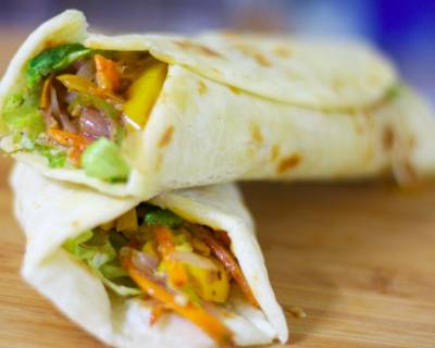 Fusion Wrap Recipe (Mixed Vegetables Wrapped In Tortilla)