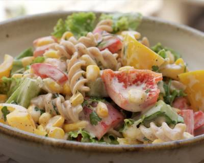 Whole Wheat Pasta Salad With Capsicum And Corn Recipe
