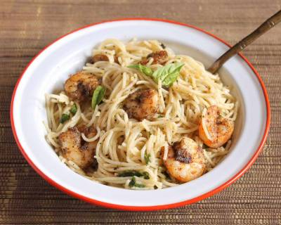 Lemony Pasta Recipe With Roasted Shrimps