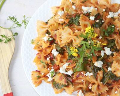 Bow Tie Pasta With Baby Spinach Recipe