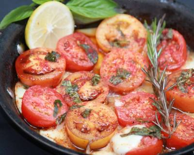 Roasted Tomato And Mozzarella Caprese Salad With Basil Balsamic Vinegar Recipe