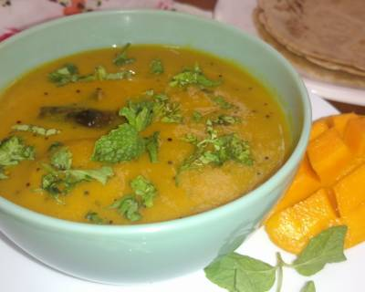 Keri Na Gotla Nu Shaak Recipe - Gujarati Style Ripe Mango Curry