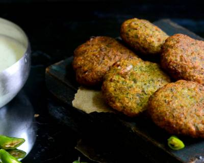 Moong Matar Kebab Recipe - Green Lentil And Peas Kebab