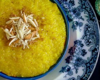 Sholeh Zard Recipe -  Persian Saffron Rice Pudding