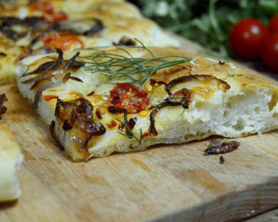 Focaccia With Cherry Tomatoes & Caramelized Onion Recipe