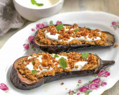 Baked Eggplant Stuffed with Red Lentil Hummus Recipe