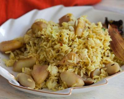 Singhara Pulao Recipe - Water Chestnut Mixed Rice
