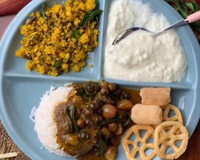 A Lunch From Grand Mother's Kitchen- Vathal Kuzhambu, Vazhaipoo Paruppu Usili & More