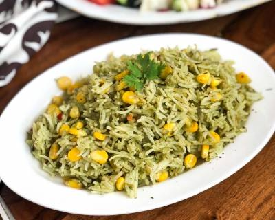 Sweet Corn Coriander Rice Recipe