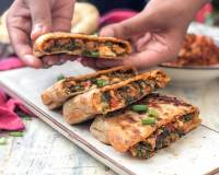 Turkish Chicken Gozleme Recipe-Stuffed Spinach Chicken Bread