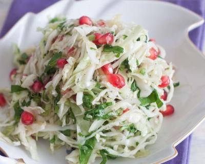 Cabbage, Spinach, Pomegranate Slaw with Lemon Dressing Recipe