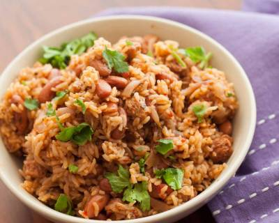 Cajun Kidney beans Rice With Soya Chunks Recipe