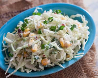Creamy Cabbage, Sweet Corn Cole Slaw with Hung Curd Recipe