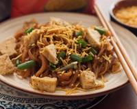 Honey and Sesame Tossed Flat Noodles with Toasted Tofu Recipe
