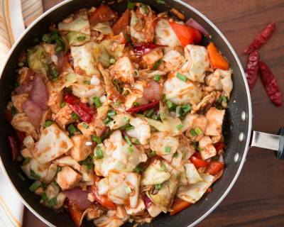Hunan stir fried Chinese Leaf cabbage with Tofu & Chilies Recipe