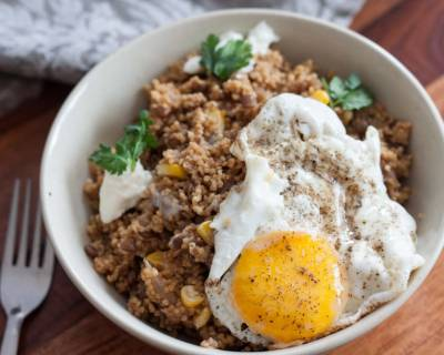 Lebanese Style Caramelized Onion Pilaf with Fried eggs Recipe