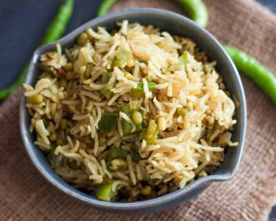 Maharashtrian Green Moong Bhat Recipe - Sprouted Green Moong Pulao