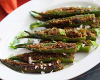 Maharastrian Style Bharli Bhindi Recipe - Stuffed Bhindi With Coconut