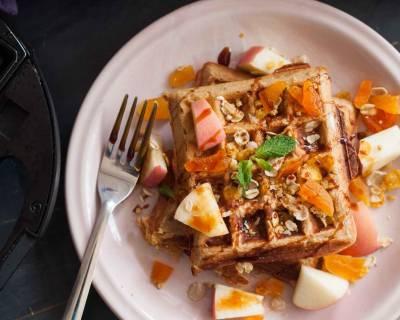 Muesli and Oats Waffle with Apricots Recipe