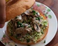 Mushroom And Scrambled Egg Bagel Sandwich Recipe