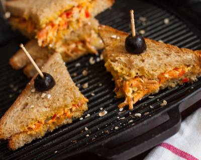 Oats Carrot Bell Peppers Mayo Sandwich Recipe