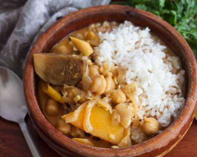 One Pot Chickpea And Brinjal Curry Recipe
