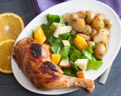 Orange Flavored Barbecue Chicken With Fresh Salad Recipe