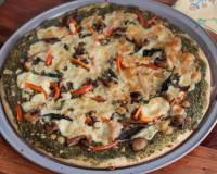 Pesto Pizza With Mushroom And Bell Pepper Recipe