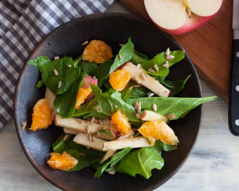 Spinach & Apple Salad Recipe With Orange Dressing