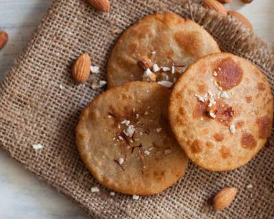 Tamil Nadu Style Badam Puri Recipe (Almond Stuffed Whole Wheat Puri Recipe)