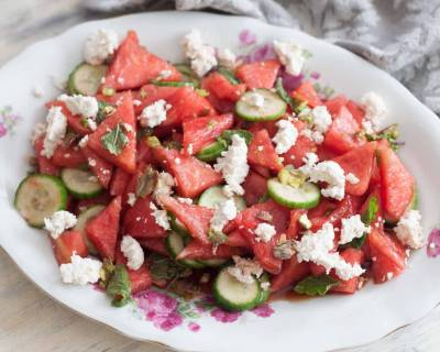 Watermelon, Chena, Cucumber With Soy Dressing Recipe