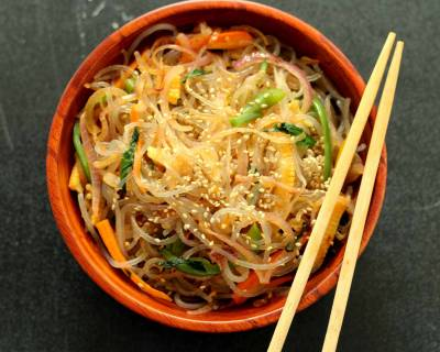 Korean Japchae Noodles Recipe (Sweet Potato Starch Noodles)