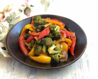 Broccoli Salad Recipe with Roasted Onion & Peppers