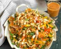 Asian Cabbage Salad with Ginger Peanut Dressing