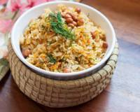 Carrots Dill and Peanut Sadam - South Indian Style Stir Fried Rice