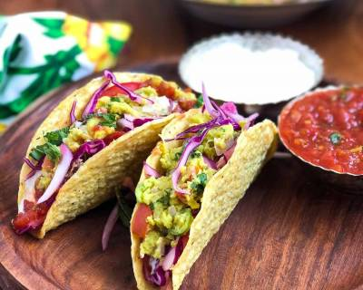 Mexican Taco Recipe With Refried Beans & Fresh Summer Salad