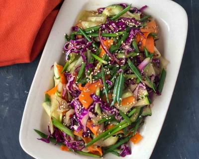 Crunchy Asian Vegetable Salad Recipe With Honey Garlic Dressing