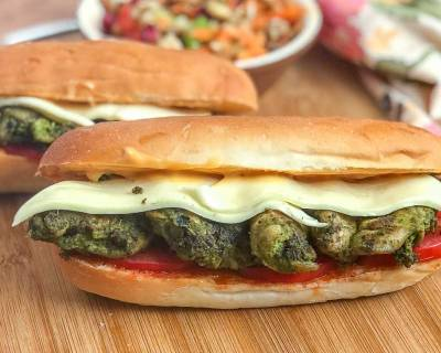 Grilled Basil Pesto Chicken Sub Sandwich Recipe