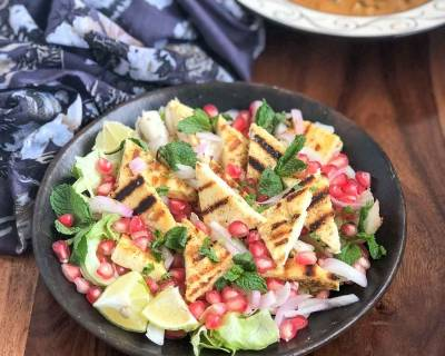 Grilled Paneer Mint Salad Recipe With Pickled Onions & Pomegranates