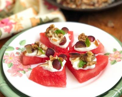 Healthy Fruit & Nut Watermelon Dessert Recipe With Greek Yogurt