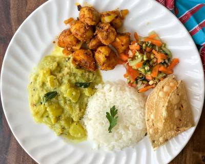 Here's An Insanely Delicious Meal - Aloo Pyaz Sabzi, Chow Chow Kootu & Salad