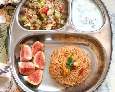 Have This Refreshing Light Meal-Baby Corn Tomato Rice, Papad Chaat & Raita