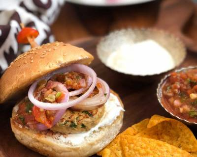 Mexican Chicken Burger Recipe With Sour Cream & Salsa
