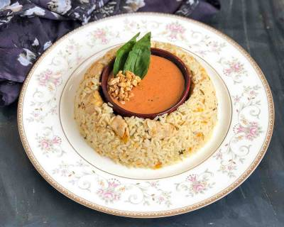 Rosemary Chicken Rice Recipe With Spicy Tomato Garlic Sauce