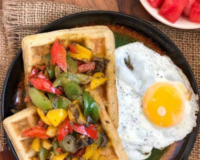 Savory Waffles With Roasted Peppers In Sun Dried Tomato Pesto Recipe