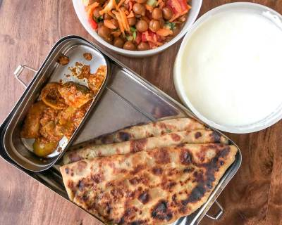 Lunch Box Ideas : Aloo Paratha, Gunde Ka Achar, Kala Chana Salad and Curd