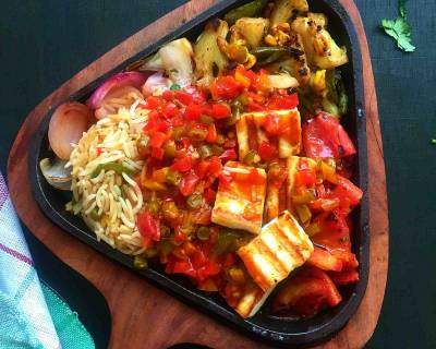 Paneer Sizzler Recipe In Chilli Garlic Sauce With Rice