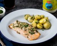 Baked Salmon Recipe Flavored With Herbs And Tartare Dip