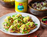 Party Sev Puri Recipe Filled With Potato & Pomegranate Mint Mayo