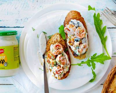 Shrimp Walnut Bruschetta Recipe Flavored With Cheesy Dip